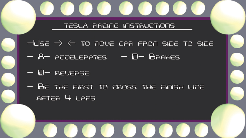 Tesla Racing Instructions