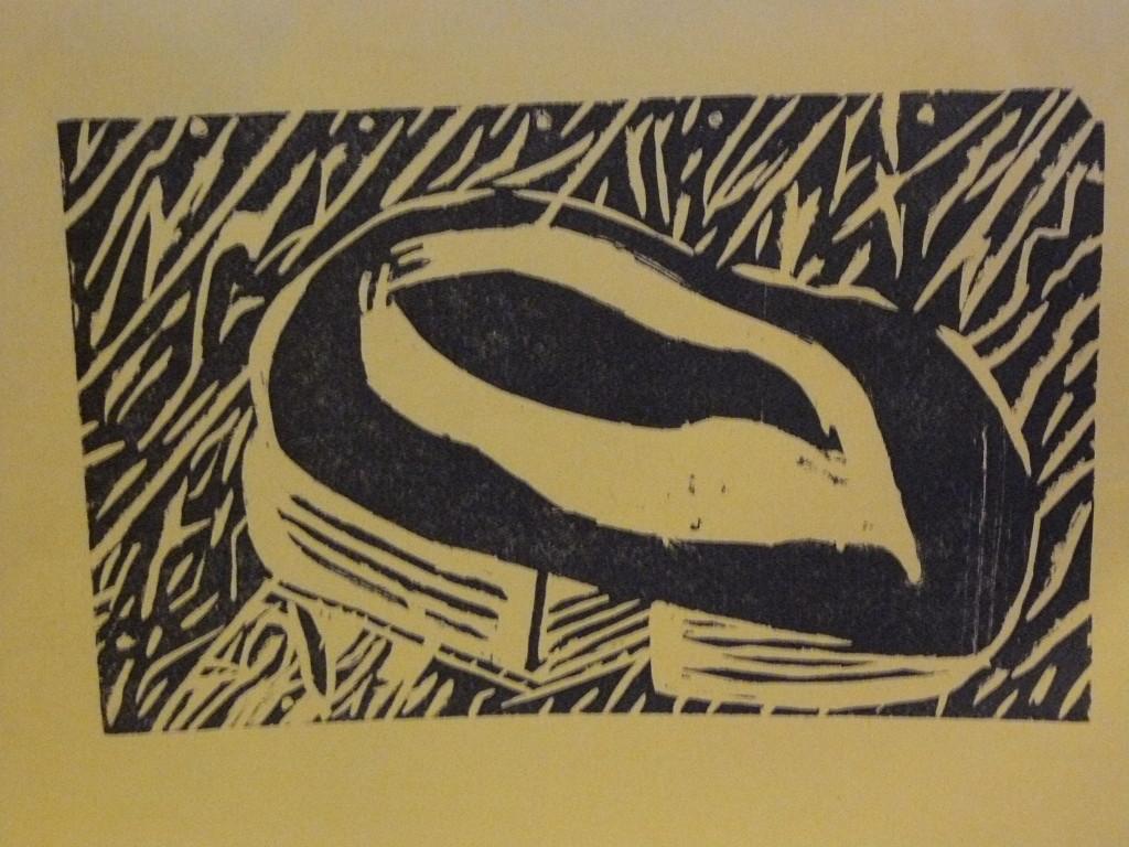 Alone Woodblock Print
