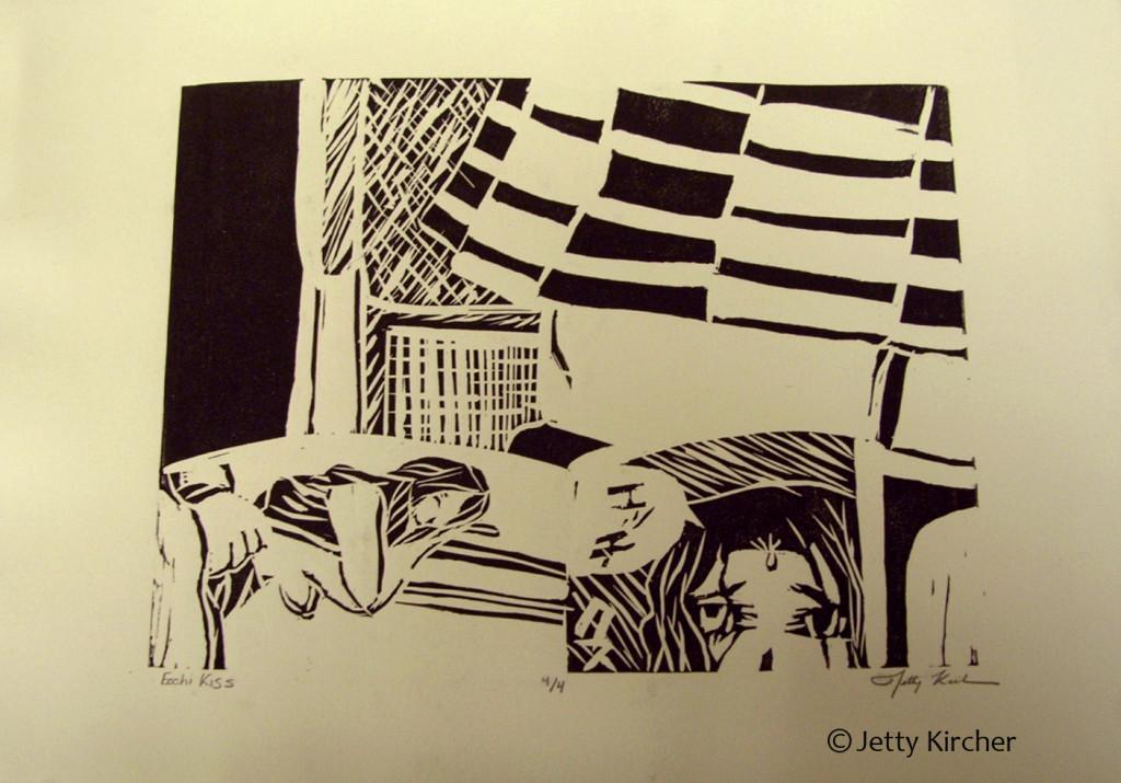 Ecchi Linoleum Print