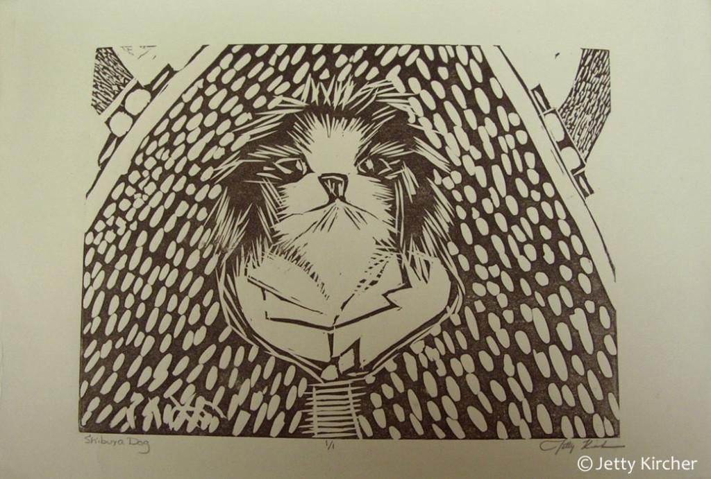 Inu Linoleum Print