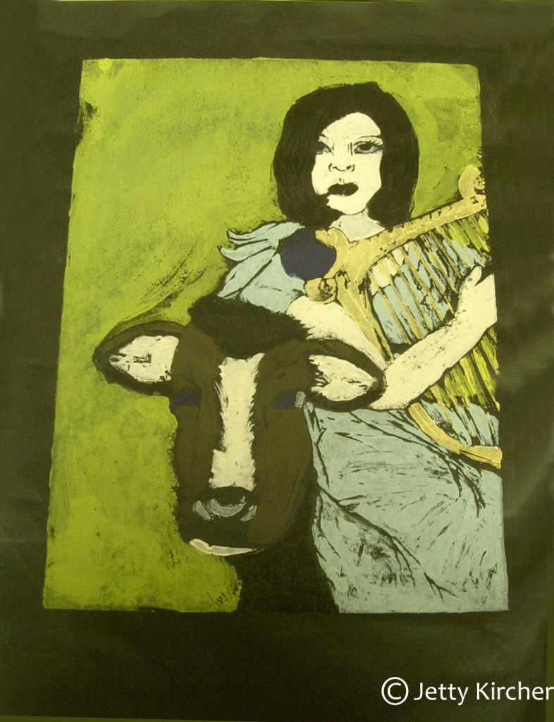 Man's Dream Handpainted Wood Block Print